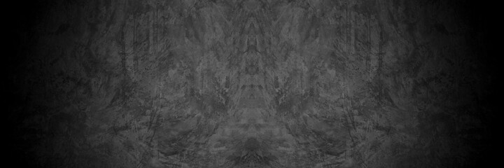 Old wall texture cement dark black gray panorama background abstract grey color design are light with white gradient background.