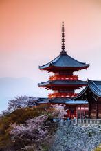 Sunset Over Kiyomizudera Temple, Kyoto, Japan