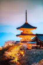 Kiyomizudera Temple At Night, Kyoto, Japan