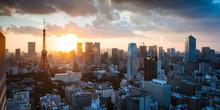 Tokyo Tower And City At Sunset. Tokyo, Japan