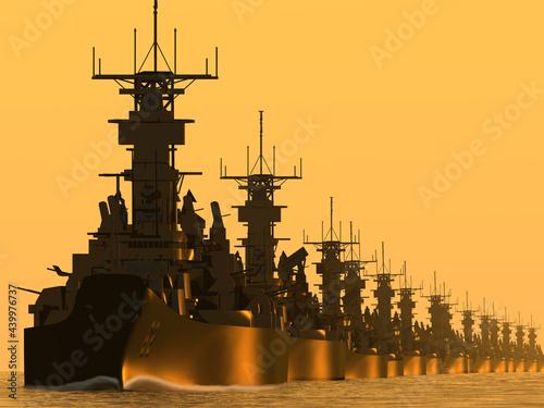 米国海軍 太平洋艦隊戦艦群(WWⅡ) Fototapet