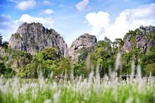 Beautiful Limestone Mountain Tourist Attractions In Loei Province, Or Mountains,Suan Hin Pha Ngam ,aka Kunming Of Loei In Loei Province. Thailand