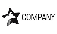 Black And White Color Star With Dog Head Logo Design