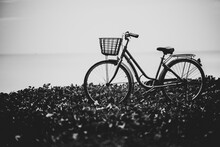 Black And White Photo Of An Old Bicycle For Use As A Background
