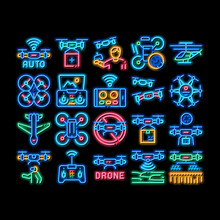 Drone Fly Quadrocopter Neon Light Sign Vector. Glowing Bright Icon Drone Remote Control And Smartphone Application, Helicopter And Air Plane Illustrations