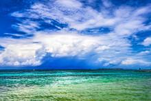 Rain Storm Coming Pier Blue Water Moorea Tahiti