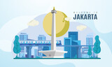 Welcome to Jakarta city Indonesia on vector illustration background