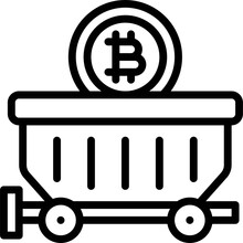 Mine Cart Icon, Cryptocurrency Related Vector