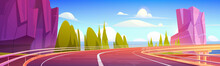 Car Overpass Road On Sea Shore With Mountains And Green Trees. Vector Cartoon Landscape Of Ocean Shore, Rocks And Highway Bridge With Metal Crash Barrier. Summer Seascape With Road On Coast