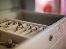 Selective Focus Shot Of Silver Wedding Rings