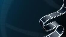 3D Isometric Film Strip In Perspective. Cinema Background. Art Design Filmstrip For Advertisement, Brochure, Banner, Flyer. Template For Cinema Festival Or Presentation. Film Industry Concept.