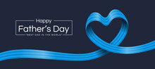 Happy Father Day Text And Blue Alternating Stripe Ribbon Roll Wave Make Heart Shape On Dark Background Vector Design