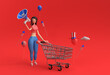 Leinwandbild Motiv 3D Render Woman with Shopping Cart Announce Mega Sale Offer USA Independence Day 4th of July Holiday