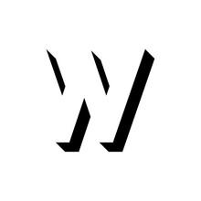 Vector Geometric Shadow Letter W