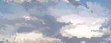 Seamless Pixel Art Clouds. Beautiful Background.