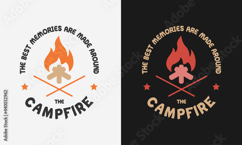 Foto the best memories are made a campfire, vector modern logos of camping theme, sui