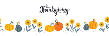 Lovely Hand Drawn Thanksgiving Seamless Pattern With Pumpkins And Sunflowers, Great For Textiles, Table Cloth, Wrapping, Banners, Wallpapers - Vector Design