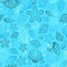 Baby Blue All Over Print With Sea And Ocean Creatures. Seamless Pattern With Seashells, Star Fish, Snails And Clam Doodles. Oceanic Repeat Background With Underwater Marine Life For Scrapbooks