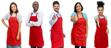 Waiters And Waitresses And Clerks - Group Of Motivated Latin American And African And Caucasian Workers