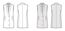 Sleeveless Jacket Lapelled Vest Waistcoat Technical Fashion Illustration With Button-up Closure, Pockets, Oversized. Flat Template Front, Back, White, Grey Color Style. Women Men Unisex Top CAD Mockup