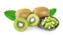 Whole Kiwi Fruit And His Sliced Segments Isolated On White Background