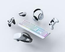 Flying Gamer Gears Like Keyboard, Joystick, Headphones, VR Glasses, Microphone