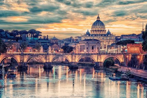 Fototapeta The city of Rome at sunset