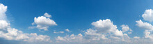 Blue Sky Background With Tiny Clouds. Panorama Background