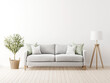 Leinwandbild Motiv Traditional living room interior mockup with grey sofa and green pillows by olive tree in wicker basket and floor lamp on empty white wall background. 3d rendering, illustration