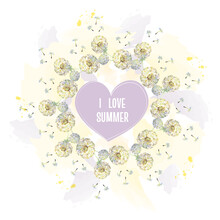 Watercolor Wreath Of Air Dandelions With Heart On A Coloful Background. Vector Illustration.