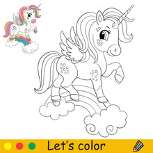 Cartoon Jumping Unicorn In A Smart Harness Coloring
