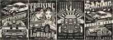 Custom Cars Vintage Monochrome Posters