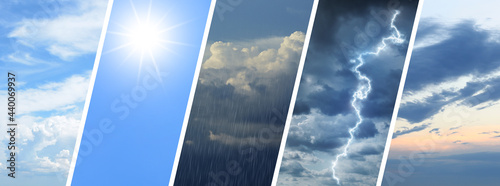 Fotografie, Obraz Collage of different weather conditions