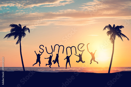 Canvastavla Silhouette friends jumping and holding summer words on sunset sky with palm tree abstract background at tropical beach