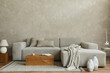 Leinwandbild Motiv Creative composition of stylish modern spacious living room with grey sofa, wooden cubes, pillows, plaid, carpet, white vases and small personal accesories. . Copy space. Template.