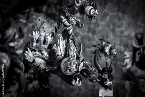 Mascara típica del baile de la diablada, es parte del folklore en Bolivia en Carnaval Fototapet