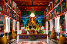 Buddha Statue Of Wat Khao Sung Chaem Fa Temple On Khao Sam Sip Hap Mountain For Thai People And Foreign Travelers Travel Visit And Respect Praying At Tha Maka On May 23, 2021 In Kanchanaburi, Thailand