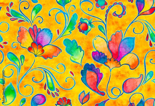 Tapety Eklektyczne  paisley-akwarela-kwiatowy-wzor-plytki-z-kwiatow-flores-tulipanow-lisci-orientalny-tradycyjny-recznie-malowany-kolor-wody-kaprysny-bezszwowy-nadruk-do-projektowania-ceramicznego-abstrakcyjne-indyjskie-tlo-batikowe