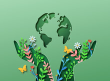 Green Hand Nature Plant Leaf And Planet Earth Papercut