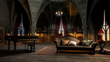 3D Illustration Of A Castle Or Palace Interior Room In Gothic Style With Grand Piano And Sofa.