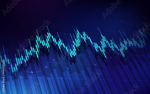 Foto Abstract financial graph with up trend line candlestick chart in stock market on