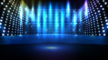 Abstract Futuristic Blue Background Of Glowing Stage With Beautiful Spotlight Ray