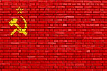 Flag Of Soviet Union 1924-1936 Painted On Brick Wall