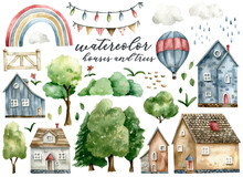 Watercolor Houses, Trees, Rainbow And Other Elements Of Country Life, Hand-drawn Set, Isolated On White Background. Over 20 Elements