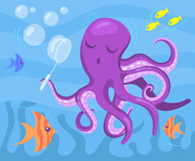 Cute Purple Octopus Blowing Soap Bubbles Underwater. Cartoon Vector Illustration. Octopus And Colorful Fish Swimming In Ocean And Having Fun. Animal, Nature, Fairytale, Ocean Concept For Banner Design