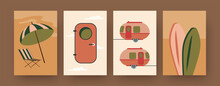 Set Of Contemporary Art Posters With Camping Trailers. Camper Door, Surfboards Cartoon Vector Illustrations. Traveling, Vacation Concept For Designs, Social Media, Postcards, Invitation Cards