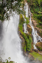 Vertical Shot Of The Waterfall At Doi Inthanon Chiang Mai Province In Thailand