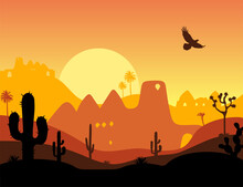 Western Landscape With Cacti And Sunset