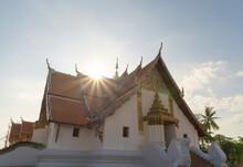 Buddha Pagoda Stupa. Wat Phumin Temple Park, Nan, Thailand. Thai Buddhist Temple Architecture. Tourist Attraction.
