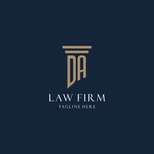 DA Initial Monogram Logo For Law Office, Lawyer, Advocate With Pillar Style
